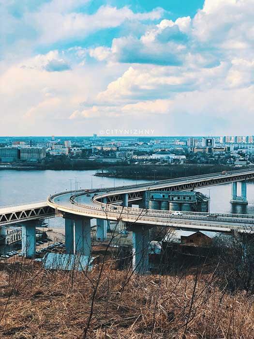 Вид на метромост. Нижний Новгород. Апрель 2020.